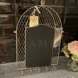 Rustic Kitchen Craft Metal Wire Memo Board Vintage Notice/Msg Chalk Key Hooks