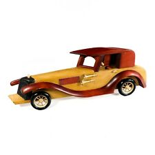 "6"" x 17"" Carved Wooden Art Car with Foldable Stand & Metal Wall Hooks"
