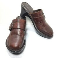 Women's B.O.C. Born Concept Brown Pebbled Leather Clogs Mules Size 9 M