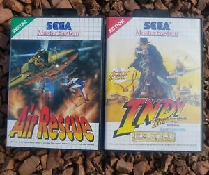 Air Rescue & Indiana jones Sega Master System Complete 2 games bundle japan