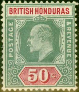 British Honduras 1907 50c Grey-Green & Carmine SG90 Fine Lightly Mtd Mint