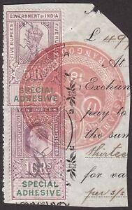 India 1918 KEVII-KGV Revenue Special Adhesive 10r, 5r Used Piece Rangoon Burma