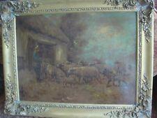 PAUL SCHOUTEN, BELGIAN, SHEPHERD AND FLOCK, OIL ON CARD, SIGNED, GILT FRAME