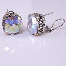 Designer Earrings AB Aurora Borealis CZ Crystal Silver Gold 18KGP Balinese Style