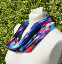 Snood/cowl Scarf in viscose jersey abstract blue, pink, orange, aqua green multi