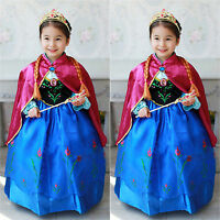 Girls Frozen Princess Anna Cosplay Costume Party Fancy Dress Ball Gown 3-8 Years