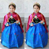 Enfant Costume Fille Princesse La Reine des neiges Reine Elsa Anna cosplay