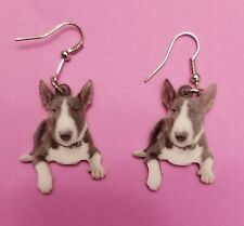 Colored Bull Terrier Dog lightweight fun earrings jewelry Free Shipping!