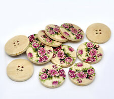 30 Mixed Flower Floral Printing 4 Holes Wood Sewing Buttons Scrapbook 30mm