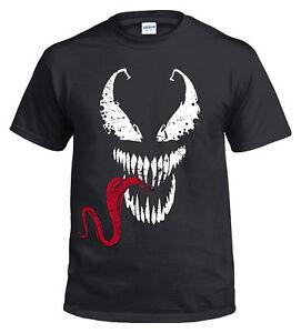Spiderman T-Shirt, Venom Face Tongue Marvel DC Deadpool Gym Top Xmas Gift Print