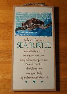 ADVICE FROM SEA TURTLE SIGN Teal Blue Beach Tropical Nautical Coastal Home Decor