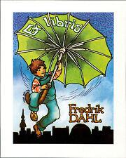 Fredrik Dahl. Boy Umbrella.    Ex-libris  Bookplate QR1074