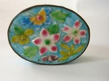 Vintage Chinese Enamel Opium Snuff Pill Trinket Box Multicolor Floral Oval