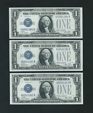 3 CONSECUTIVE 1928B $1 SILVER CERTIFICATES  <<<< GEM UNCIRCULATED >>>>