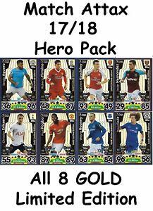 Match Attax 2017/18 Hero Pack 8 Gold Limited Edition. Luiz Rooney Koscielny