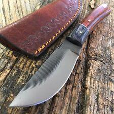 FULL TANG SAWMILL FILE SKINNER KNIFE TOOLED LEATHER SHEATH HUNTERS KNIFE
