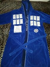 Doctor Who Blue TARDIS Men's Cotton Hooded Bath Robe One Size