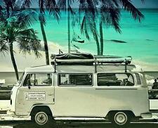 VW CAMPER - Summer Beach - Modal & Silk  -  Size 70cm x 200 cm - Scarf or Sarong