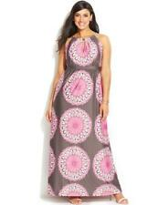 NWT INC INTERNATIONAL CONCEPT Plus Size 1X Pink/Gray Keyhole Stretch Maxi Dress