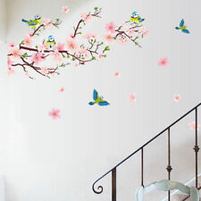 UK Peach Blossom Flower Tree Branch Birds Wall Stickers Home Decal Decor