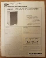 Vintage Realistic Minimus-1 Miniature Speaker System Specifications Instructions