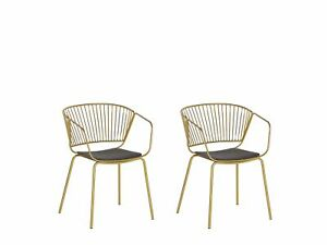 Set of 2 Accent Dining Chairs Gold Metal Black Faux Leather Seat Pad Rigby