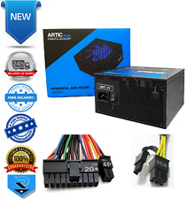 Artic 850W Blue ATX Gaming PC 6+2Pin PCIe PSU Power Supply 120mm Blue