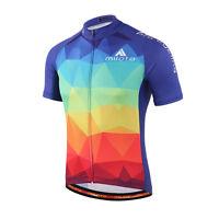 Men's Reflective Cycling Jersey Colorful MTB Cycle Bike Short Jersey Shirt S-5XL