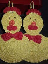 Coppia di presine cotone all'uncinetto idea regalo Pasqua gallina decora cucina