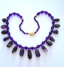 """Very Pretty Natural Genuine Amethyst Necklace, 20"""" long."""