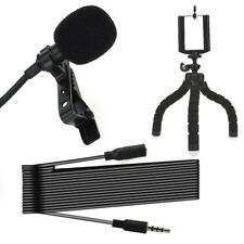 Clip-on Lapel Lavalier Microphone Kit External Wired Mic -iPhone Samsung Android