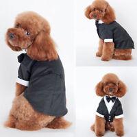 Pet Dog Puppy Wedding Tuxedo Apparel Clothes Suit Bow Tie Stylish Shirt Coat