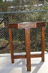 1983 Oak Octagonal Table Bottom Intricately Carved Oak Leaves Acorns No Top