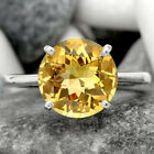 Natural Faceted Golden Citrine 925 Sterling Silver Ring s.9 Jewelry E146