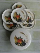 SET OF 6 VINTAGE SOURCE FRUIT COASTERS IN CANISTER - NEVER USED - ENGLAND