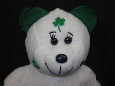 FIGURE SKATING TEDDY BEAR GOOD LUCK SHAMROCKS GREEN WHITE PLUSH STUFFED ANIMAL