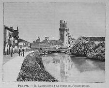 1891:PADOVA= BACCHIGLIONE,TORRE OSSERVATORIO = VENETO.ITALIA.Xilo.ETNA.P.Premoli