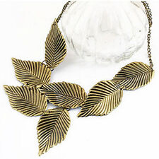 Women Vintage Ethnic Chunky Leaves Bronze Clavicle Chain Necklace Pendant Gift