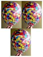 Clear Confetti Balloons Wiggles Party Pack of 3 - Red, Yellow, Blue and Purple