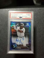 2016 Bowman Chrome Kyle Lewis Rookie RC Blue Refractor AUTO #'D/150  PSA 9 Mint!