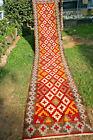 Vintage Stunning Geometric Pattern Natural Saffron Dye Turkish Hallway Runner