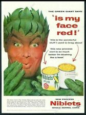1954 Jolly Green Giant Is My Face Red Niblets corn vintage print ad