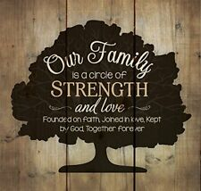 """Our Family Circle of Strength Rustic Tree 10"""" x 10"""" Wall Art Sign Plaque"""