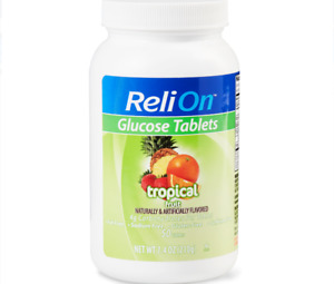RELION TROPICAL FRUIT GLUCOSE TABS, 50 CT EXP 2022 +