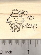 Cat Christmas Gift Tag Rubber Stamp, with Space for Names D22906 WM