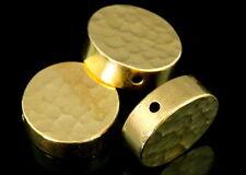 KG-566 THAI KAREN SILVER 2 GOLD VERMEIL HAMMER CYLINDER ROUND SHAPED BEAD