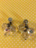 Drop Dangles Faceted Crystal Glass Earrings Clips Vintage Retro 1950s