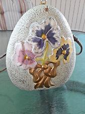Timmy Woods Beverly Hills Pansies Flowers Wood Handbag Hand Painted