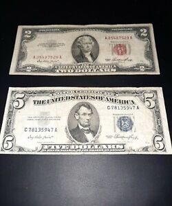 1953 $2 Red Seal And 1953 $5 Blue Seal Lot