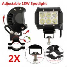2 Pcs 18W Cree LED Super White Motorcycle Headlight Spotlight Mounting Bracket